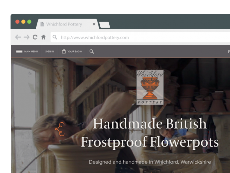 Whichford Pottery website screen shot